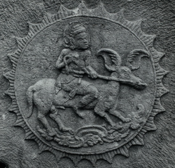 This medallion shows Surya, the Hindu god of the sun